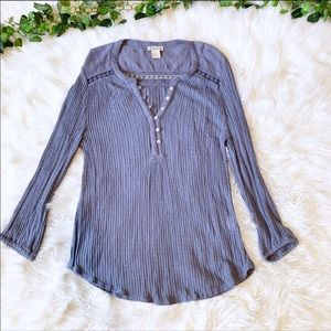 Lucky Brand Blue Pullover Ribbed Burnout Top